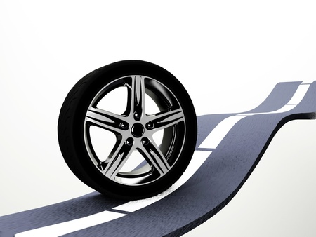 composition with a wheel on the road, rendering photo