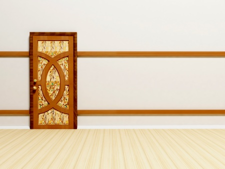 Wooden classic door in empty white bright room Stock Photo - 12902771