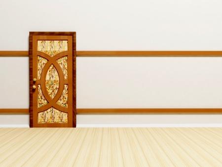 opportunity concept: Wooden classic door in empty white bright room