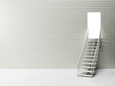 modern living room: White empty room with the stairs and an open door