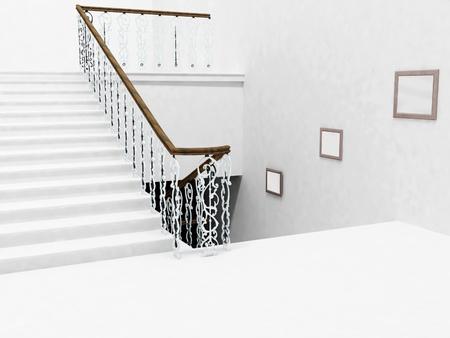 Interieur design met de trap en een foto, waardoor