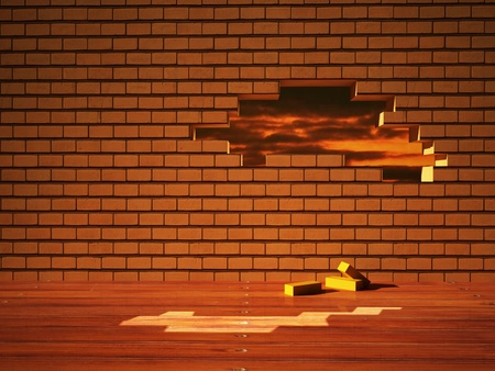 multiple house: Interior design scene with a brick wall Stock Photo