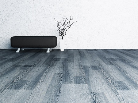 pouf: Interior design scene with a black pouf and a vase, minimalism