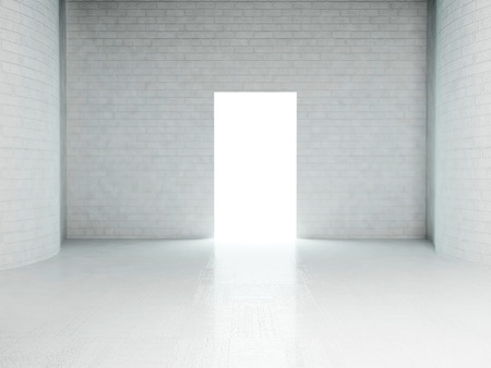 Interior design scene with a brick wall and a white room Stock Photo - 12902861
