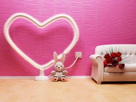 this ia a holiday romantic interior with a big elektric heart photo