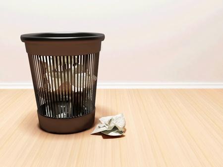 Interior design scene with a bin and a paper