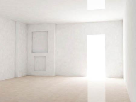 Bright room with open door, rendering photo