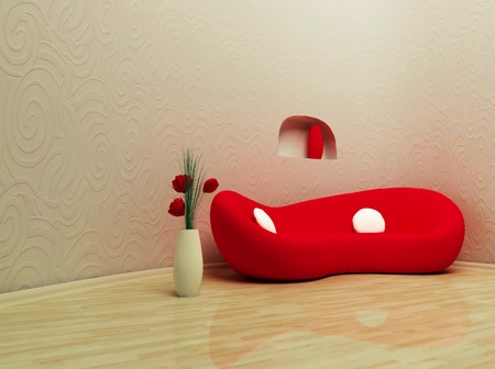 fluency: this is a modern interior with a red sofa and a vase Stock Photo