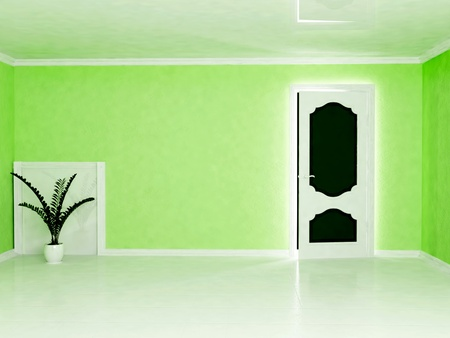 adn: Escena del dise�o interior con un adn planta verde una puerta Foto de archivo