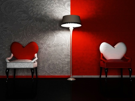 glass heart: this is a romantic interior with two chairs and a lamp, rendering Stock Photo