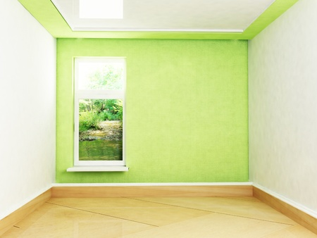 Interior design scene with a window, rendering photo
