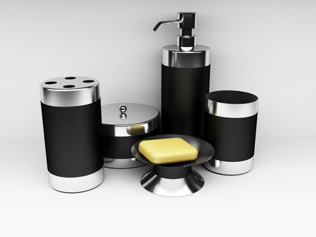 artigos de higiene pessoal: The toiletries on the white background, rendering