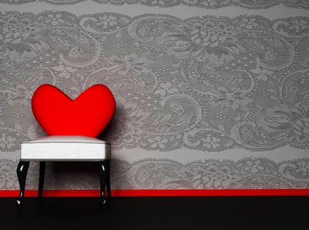 this is a romantic interior with a chair on a nice background, rendering photo
