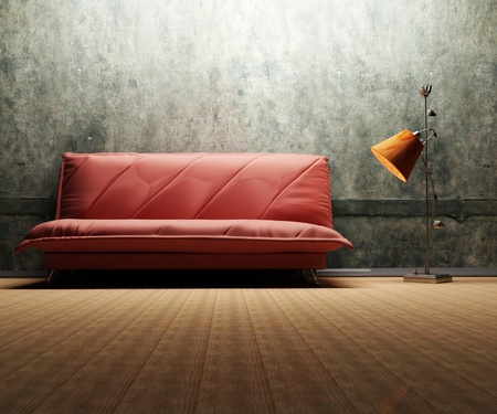 dirty room: Interior design scene with a  sofa and a floor lamp on the grunge background