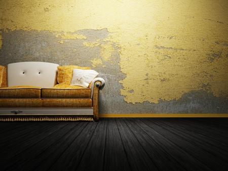 sala de estar: Dise�o moderno interior del sal�n con un sof� brillante en el fondo interesante Foto de archivo
