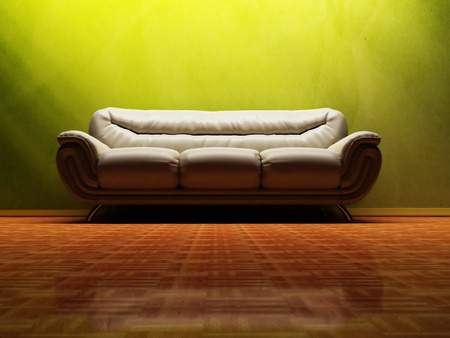 Interior design scene with a  nice sofa on the green background Stock Photo - 12902823