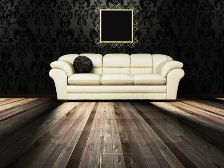 arredamento classico: Scenografia d'interni con un divano e un quadro sulla parete d'epoca
