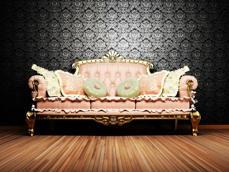 Modern  interior design of living room with a  royal sofa on the vintage background photo