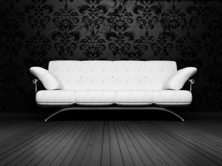 arredamento classico: Moderno design degli interni di soggiorno con un divano regale bianca sullo sfondo d'epoca