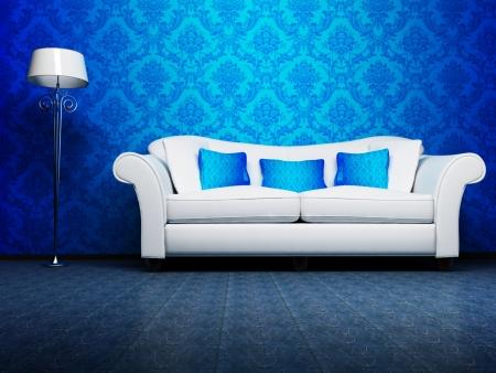 divano: Moderno design degli interni di soggiorno con un divano blu e una lampada