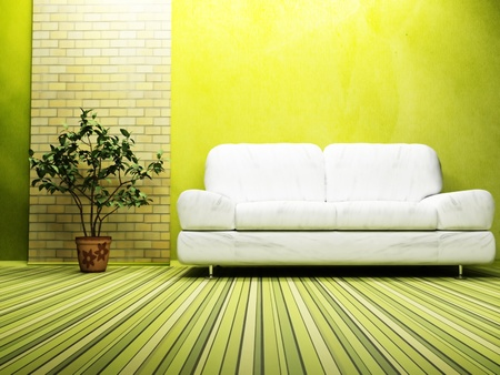 Modern  interior design of living room with a  bright sofa and  a plant photo