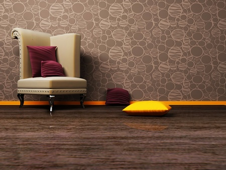 cretive: Interior design scene with a classic royal armchair on the brown background