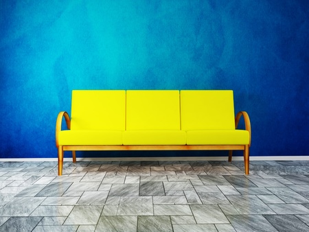 Interior design scene with a  nice yellow sofa on the blue background photo