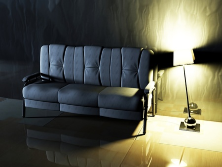 Modern  interior design of living room with a  sofa and  the lamp Stock Photo - 12974476