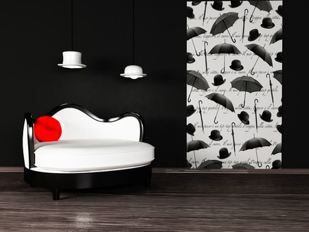 Modern  interior design with a white sofa on the black background photo
