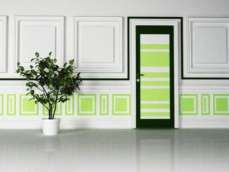 green door: Interior design scene with a classic door and the plant