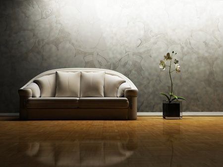Modern  interior design of living room with a  white sofa and  a nice orchid in a vase photo