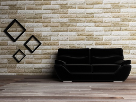 Interior design scene with a black sofa on the brick background Stock Photo - 12974796