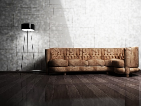 Modern  interior design of living room with a  brown sofa and a floor lamp photo