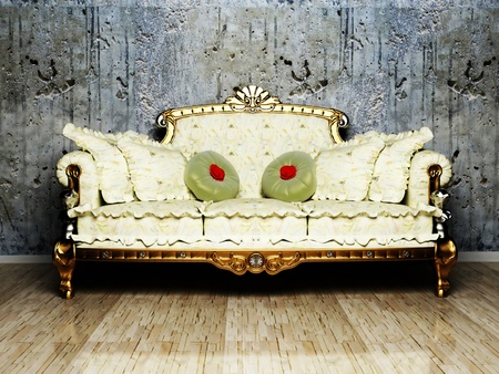 living wisdom: Interior design scene with a classic royal sofa on the dirty background Stock Photo