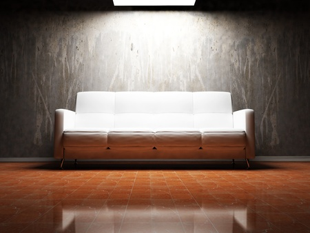 Modern  interior design of living room with a  sofaon the dirty wall photo