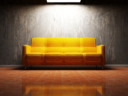 Modern  interior design of living room with a  bright sofa and  a lamp Zdjęcie Seryjne