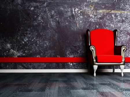 Red classic armchair on the dirty background, rendering photo