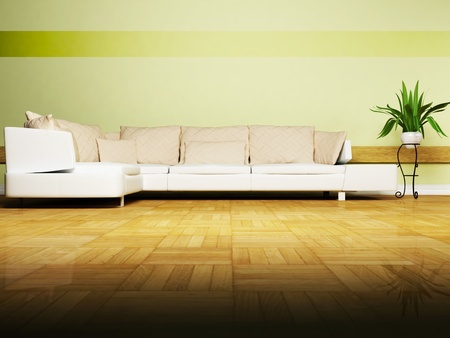 Bright interior design with a nice sofa and a plant photo