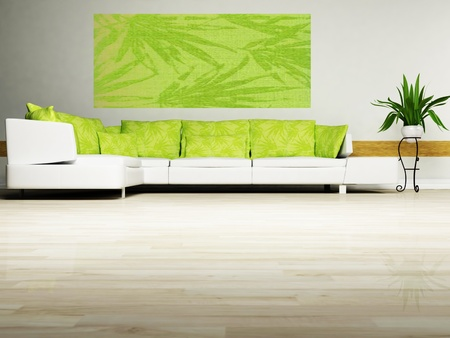 Bright interior design with a nice sofa and a plant Stock Photo - 12974523