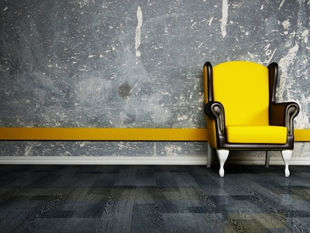 Interior design scene with an  armchair on the dirty background photo
