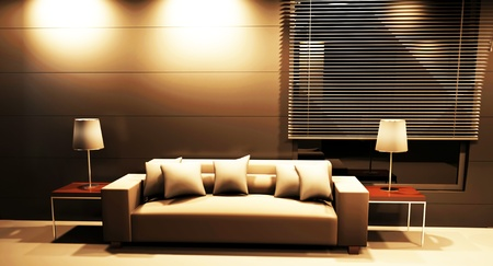 Modern  interior design of living room with a  sofa and the lamps photo