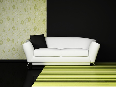 Modern  interior design of living room with a  sofa on the green adn black background photo