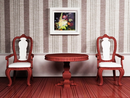 Classic interior design with two chairs and the table photo