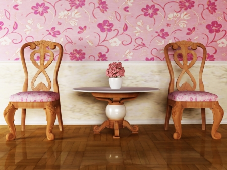 Classic inter design with two chairs and the table Stock Photo - 12974780