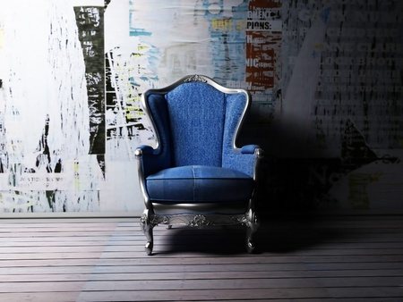 Interior design scene with an armchair in grunge style, rendering