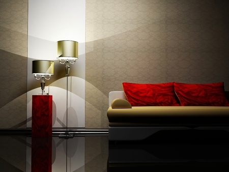 modern interior design with a sofa and two floor lamps  Zdjęcie Seryjne