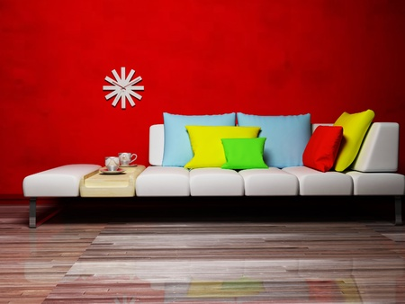 Interior design scene with a colored pillows on the sofa, a clock on the wall, rendering