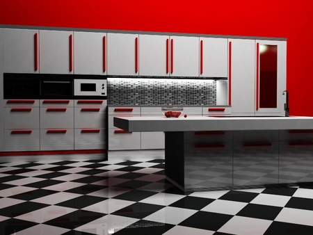 Modern kitchen interior in white and red color, rendering photo