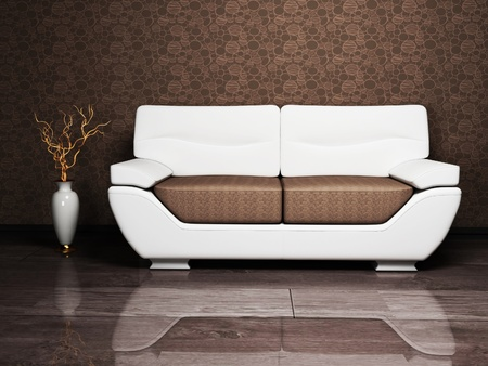 shiny floor: Modern interior design with a sofa and a nice vase