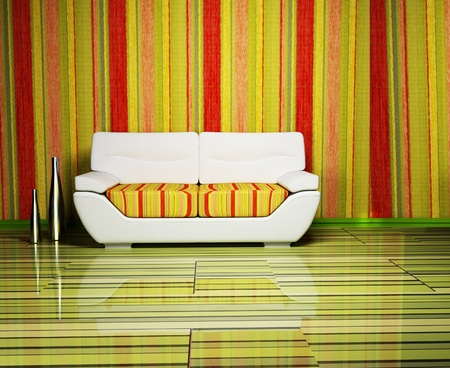 Modern design of living room with the colored stripes and a sofa photo